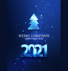 greetings card blue color with christmas tree and vector image