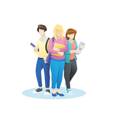 group students with books and vector image