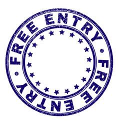 Grunge textured free entry round stamp seal vector