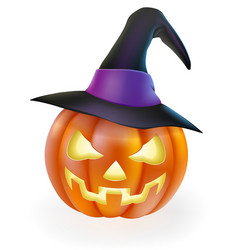 Halloween pumpkin in witch hat vector