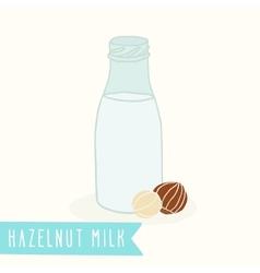 Hazelnut milk in a glass bottle vector image