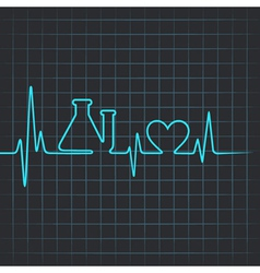 Heartbeat make testtube and heart symbol vector