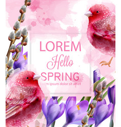 Hello spring card watercolor with cute pink vector
