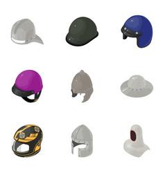 Helmet icons set isometric style vector