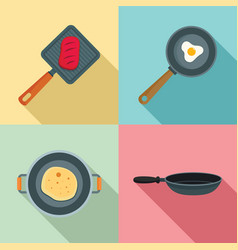 Hot griddle chef icon set flat style vector