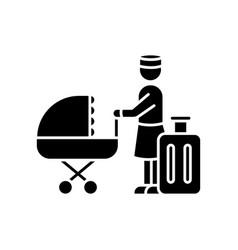Hotel sitter black glyph icon babysitting service vector