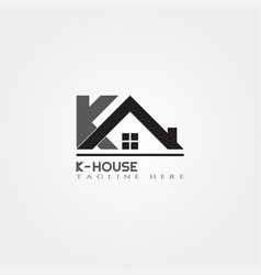 house icon template with k letter home creative vector image