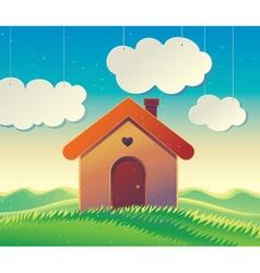 House on landscape background vector