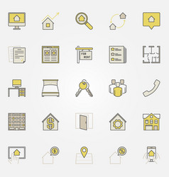 house rent colorful icons vector image