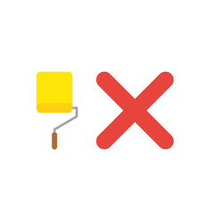 icon concept of yellow paint roller brush with x vector image