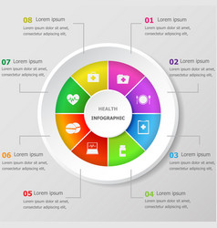 Infographic design template with health icons vector