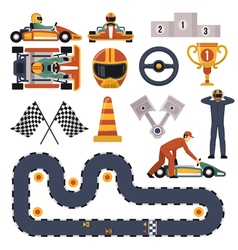 Karting Motor Race Set vector image