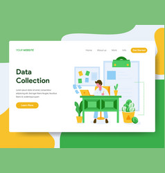 landing page template data collection concept vector image
