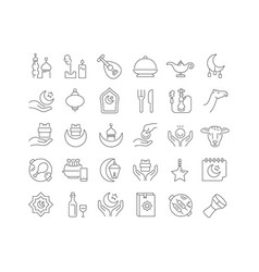 Line icons islamic new year vector