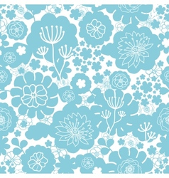 Lovely blue florals silhouettes seamless pattern vector
