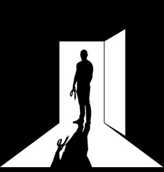 Man with belt standing at door practising vector
