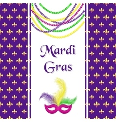 Mardi Gras hliday card Seamless pattern with vector