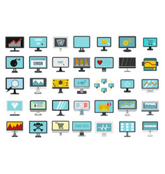 monitor icon set flat style vector image