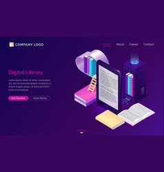 online library electronic reading isometric vector image