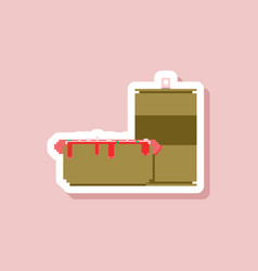 Paper sticker on stylish background hotdog vector
