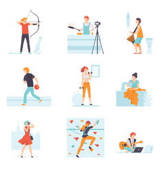 people enjoying various hobbies set people vector image