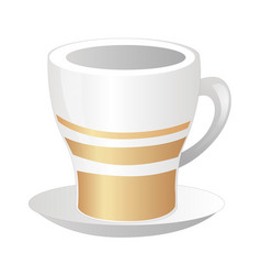 Porcelain white cup with gold strips and saucer vector