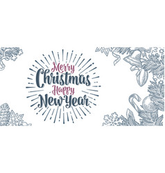 poster horizontal merry christmas happy new year vector image