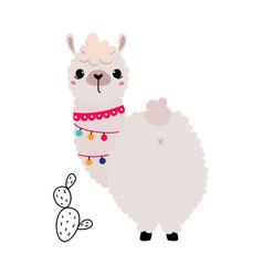 Pretty wolly llama or alpaca wearing garland vector
