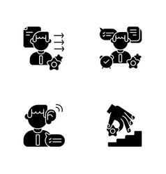 professional skills development black glyph icons vector image
