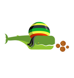 rasta whale and cookies large marine animals in vector image