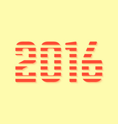 Red dashed 2016 number on yellow background vector