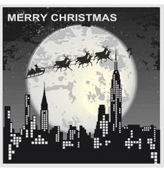 Santa Claus flying over city vector