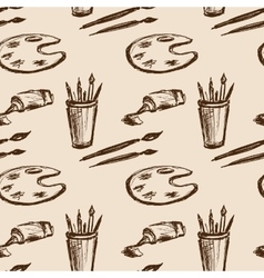 Seamless pattern art tools Hand drawing vector image