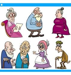 Seniors people set cartoon vector