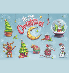 set merry christmas with vector image