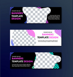 Set of horizontal web banners with abstract wavy vector