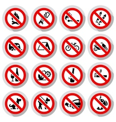 Set Prohibited signs on paper stickers vector