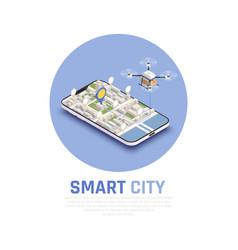 smart city isometric composition vector image