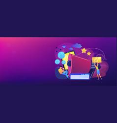 social networks promotion concept banner header vector image