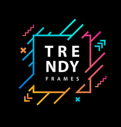 square frames with geometric lines borders with vector image