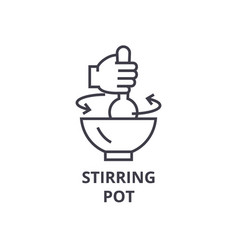 Stirring pot line icon outline sign linear vector