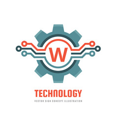 Technology letter w - logo template concept vector