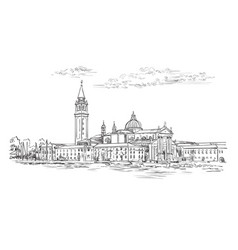 Venice skyline view hand drawing vector