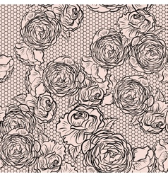 Vintage monochrome roses pattern with lace vector