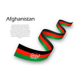 Waving ribbon or banner with flag of afghanistan vector