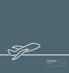 Web template logo of plane in minimal flat style vector image