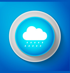 white cloud with rain icon on blue background vector image