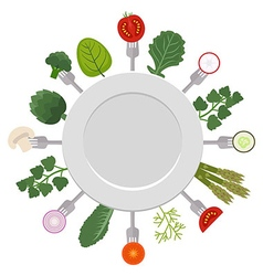 White plate with pieces of vegetables on forks vector image