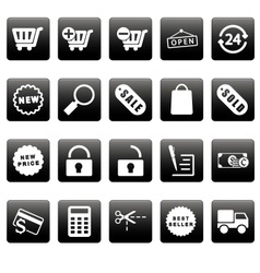 White shopping icons on black squares vector image