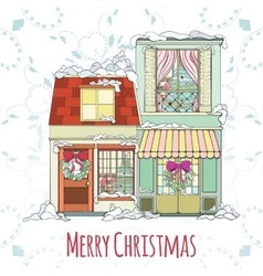 Christmas and New Year house vector image vector image